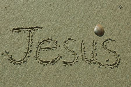 Sand Writing - Jesus