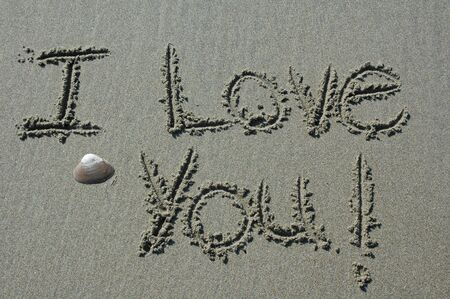Sand Writing - I Love You! With Shell Accent Фото со стока