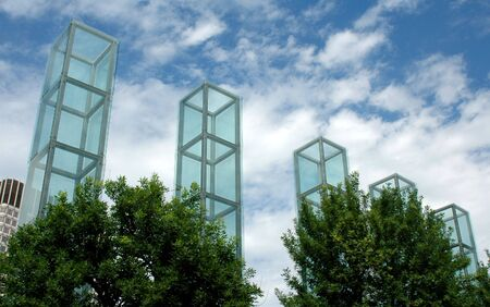 tribute: Towers of the Holocaust Memorial, Boston, MA, on a summer day