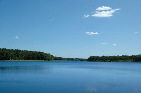 Wenham Lake, Wenham, MA, on a clear sunny summer day