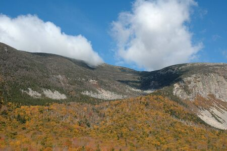 notch: Foliage at Crawford Notch, New Hampshire, on a clear fall day Stock Photo