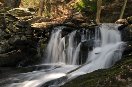 baileys: One of several waterfalls at Baileys Ravine in Franklin, CT, on a lovely spring day.
