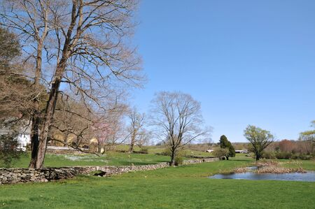 pastoral scenery: Lovely New England farm on a beautiful spring day
