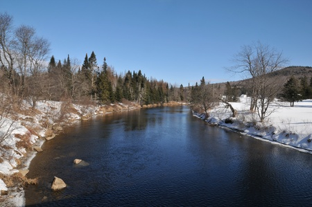 The Magalloway River in Lincoln Plantation, Maine, on a cold winter day photo