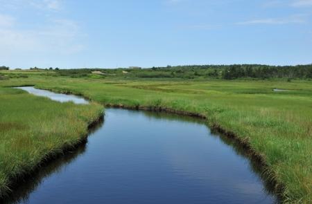 Creek near Cape St. Mary reflecting blue summer sky photo