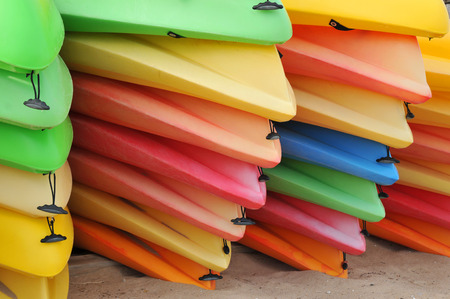 put away: Piles of sherbet colored kayaks put away for the winter in Provincetown
