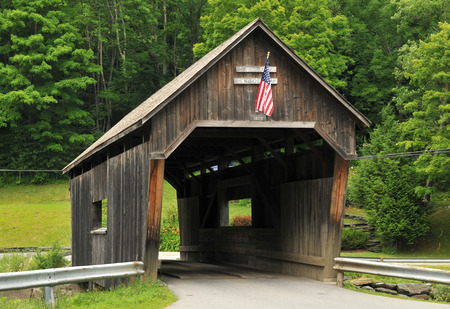 warren: Historic Lincoln Gap Bridge, in the town of Warren, Vermont, spanning the Mad River