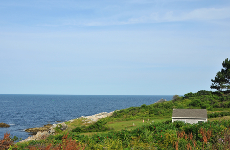 ma: View of the Atlantic Ocean from Bakers Island off the coast of Beverly, Massachusetts on a sunny summer day Stock Photo
