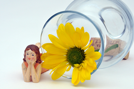 Fairy lounging beside a bright yellow daisy