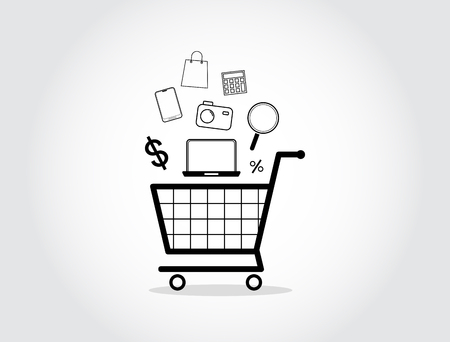 Shopping cart isolated icon vector design on gray background.