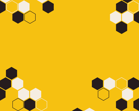 Hexagon bee hive brown with white color vector abstract yellow background design.