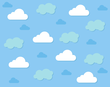Clouds collection on blue sky background vector design seamless pattern Illusztráció