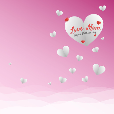 White and red hearts isolated vector design with wave gradient background for mothers day.