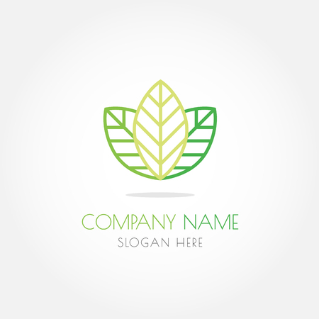 Natural green leaf logo vector design on white gradient background