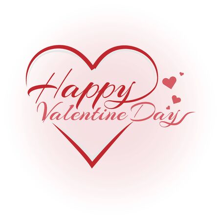 Happy valentine day lettering text vector brush isolated with red heart on white illustration.