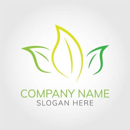 Green leafs logo design natural concept vector on light gray background for business Illusztráció