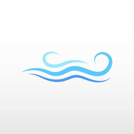 Blue ocean water fluid wave logo icon object vector isolated background