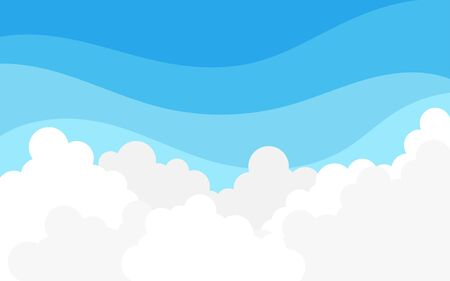 White fluffy cloud on top blue sky outdoor landscape vector background Vettoriali