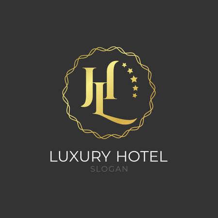 luxury golden elegant hotel branding isolated on black background for business