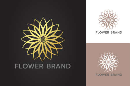 Glittering golden flowers luxury restaurant spa hotel business branding with flat style isolated background Illustration