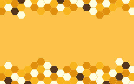 Hexagon bee hive vector abstract orange and black modern with yellow background illustration.