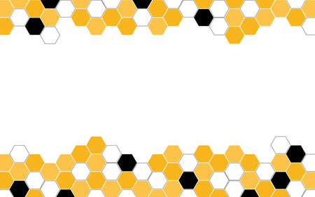 Hexagon bee hive vector abstract yellow and black modern on top and botoom white background illustration. Illusztráció
