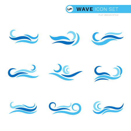 Blue ocean wave water line curve icon set isolated on white background vector illustration