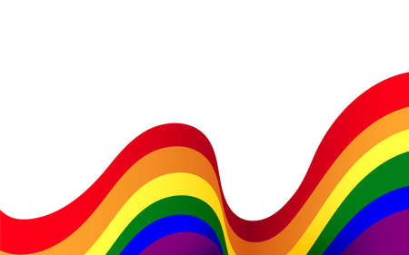 Wave line curve LGBT rainbow flag of lesbian, gay, and colorful concept background vector illustration