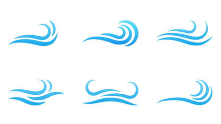 Blue ocean water wave water vector symbol icon set isolated on white background