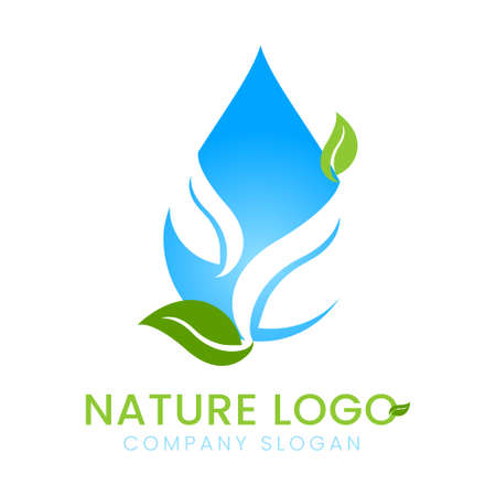 Water drop aqua with green leaf nature eco concept logo design vector isolated on white abstract background