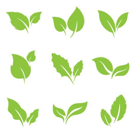 Green leaf nature organic flat bio eco icon set vector isolated on white background Vektorgrafik