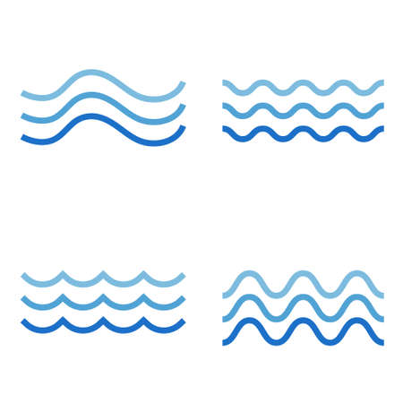 Blue ocean water wave set logo icon object isolated on white background vector illustration. Ilustracja