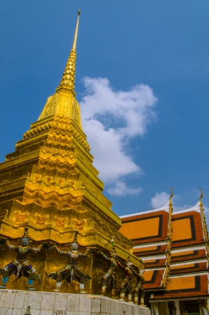pra: Side view Pagoda Wat Pra Keaw Stock Photo