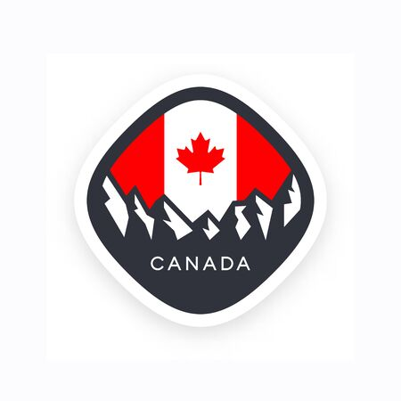 Canada symbol with mountains and Canadian flag with red maple leaf Ilustração