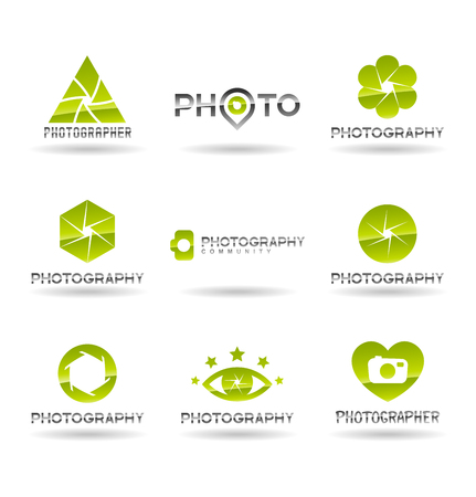 Photographer logo design, photography and photo camera icon, diaphragm symbol.