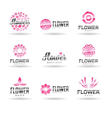 Flower logo templates, vector floral icons isolated on plain background.