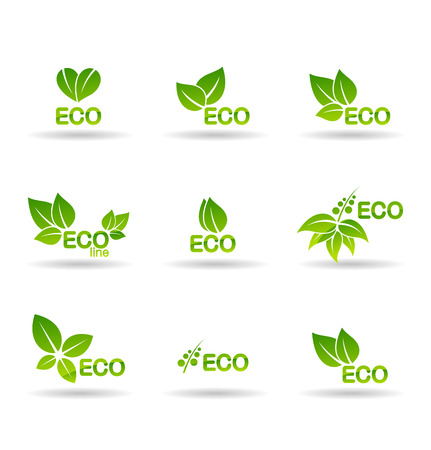 Eco food, organic bio products, eco friendly, vegan icons and ecology symbols. Illustration