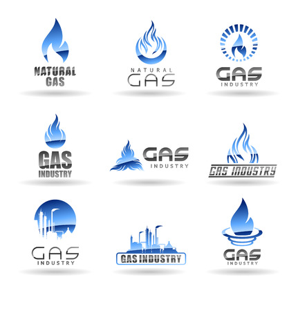 Natural gas vector logo templates isolated on plain background.