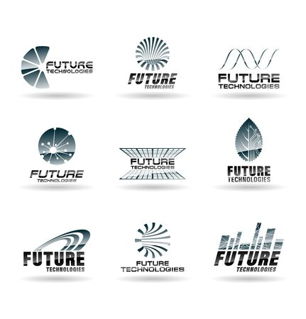 Abstract tech and science logos, future technologies