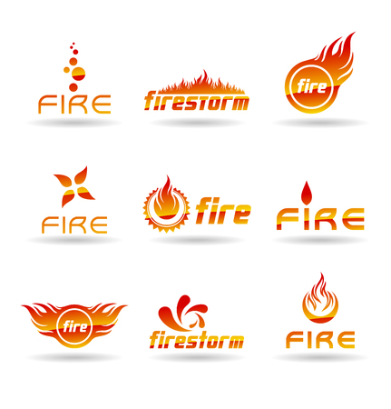 Fire flame icons and logo design elements. Illustration