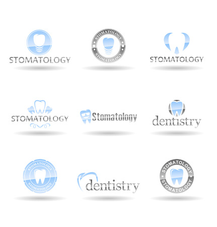 Dentistry logo templates, stomatology symbols and vector teeth icons Illustration