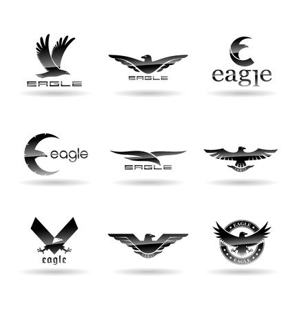Eagle-logo vectorconcepten, valk logo sjabloon, havik illustratie