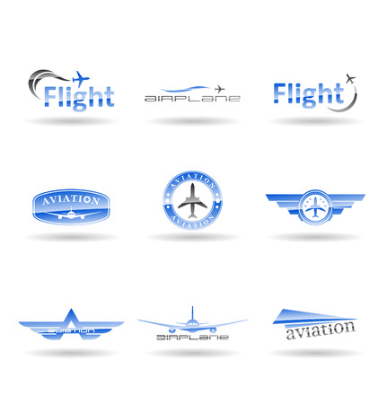Aviation and aircraft symbols isolated on plain background.