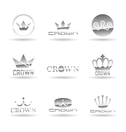 Crown icons and logo design isolated elements vector illustration