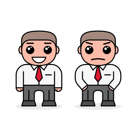 Smiling and angry business men. Cartoon design, vector illustration