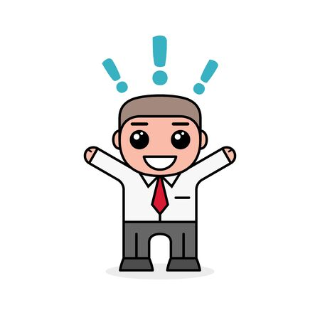 Successful smiling business man with exclamation point. Cartoon design, vector illustration