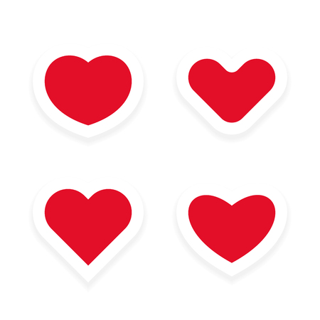 Vector hearts with a white contour and shadow Stock Illustratie