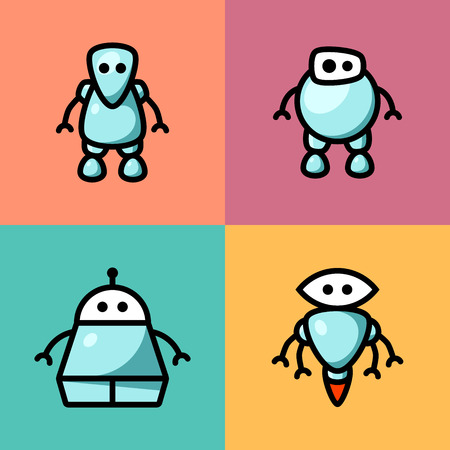 Collection of different cute vector robots
