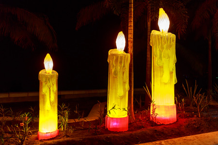 Candle shaped lighting art pieces on Boardwalk, in Purerto Vallarta, Mexico photo