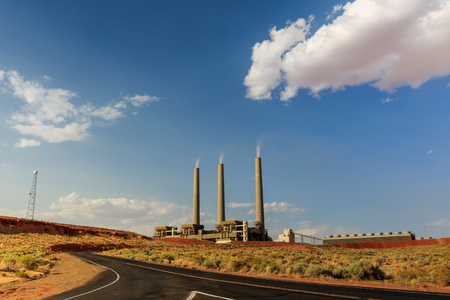 coal fired: The coal fired Navajo Generating Plant is said to be one of the 12th dirtiest power plants in the U.S. with around 8 million tons of coal coming from the nearby Kayenta mine. Stock Photo